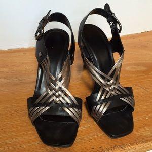 Vaneli metallic cross braid on black heeled sandal